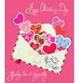 ornament hearts envelope 2 380 vector image