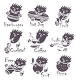 head eating different dishes vector image vector image
