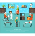 Old People Nursing Home Flat Poster vector image
