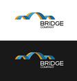Bridge building company logo template 3D color vector image