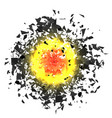 explosion cloud of grey pieces vector image