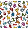 Funny colorful cartoon numbers seamless pattern vector image
