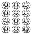 Halloween Kawaii cute black pumpkin icons - vector image