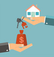 hand with money and hand with house and keys vector image