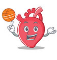 with basketball heart character cartoon style vector image