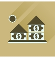 Flat icon with long shadow money house vector image