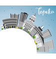 topeka skyline with gray buildings blue sky vector image
