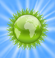 Icon earth with grass environment symbol vector image