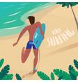 Man runs to ride the surf vector image