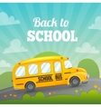School bus and greeting text vector image