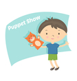 small boy with hand puppet toy vector image