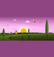 beautiful sunset landscape sunrise abstract rural vector image
