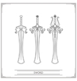 Rounded Fantasy Sword Lineart vector image