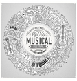 Set of Musical cartoon doodle objects symbols and vector image