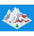 Isometric Ski Resort with Hotel Buildings vector image