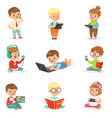 small kids using modern gadgets and reading books vector image