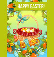easter egg hunt cartoon poster or greeting card vector image
