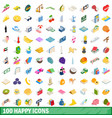 100 happy icons set isometric 3d style vector image