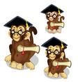 monkeys in academic cap animal vector image