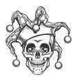 the skull in joker cap vector image