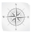 Compass rose over white paper sticker isolated on vector image