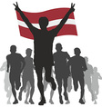 Winner with the Latvia flag at the finish vector image