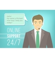 Call Centre Support Man with Headphones vector image vector image