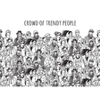 Crowd of trendy people black and white vector image