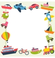 frame with colorful transport icons vector image vector image