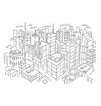 big city view from the top sketch hand drawn vector image