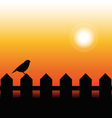 Bird Silhouette on a fence in sunset vector image