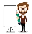 Businessman with a poster and pencil vector image
