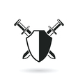 crossed swords with shield vector image