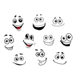 Funny cartoon emotional faces set vector image