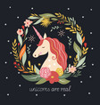 hello fall autumn unicorn on black background vector image