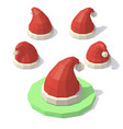 low poly christmas hat vector image
