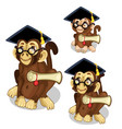 monkeys in academic cap animal vector image