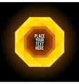 Yellow octagon shape on dark background vector image