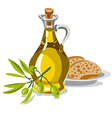 oil olive with bread vector image