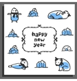 Happy new year greeting card with cute cartoon vector image