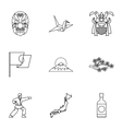 Attractions of Japan icons set outline style vector image