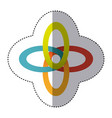 sticker shading colorful rings in cross shape vector image