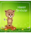 Happy birthday background with little bear vector image