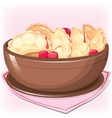 Dish with dumplings with cherry vector image vector image