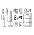 Beer set with two hands holding glasses mug and vector image