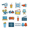 cinema icons set symbols cartoon style vector image