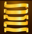 set of horizontal blank gold curved paper ribbon vector image
