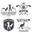 Set of Golf club concept with golfer silhouette vector image