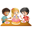 A table with cake surrounded by three kids vector image