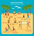 beach activities infographics vector image